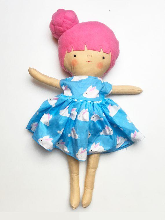 jurk blauw konijntjes pop