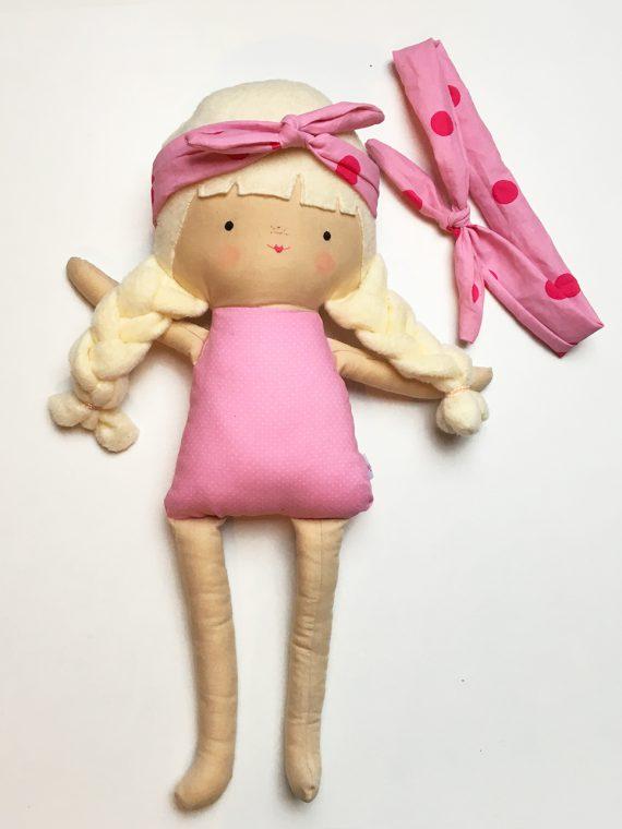 haarbanden set knoop meisje roze stippen pop