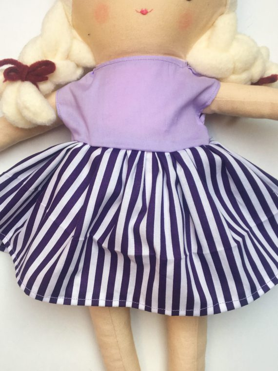 Poppen jurk handgemaakt paars strepen